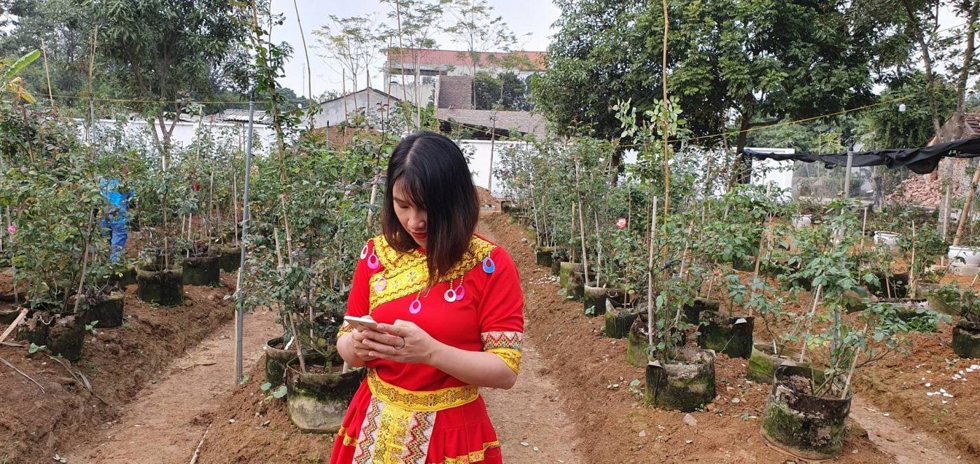 checkin tại vườn hồng Zila Vietnam với trang phục lỗng lẫy