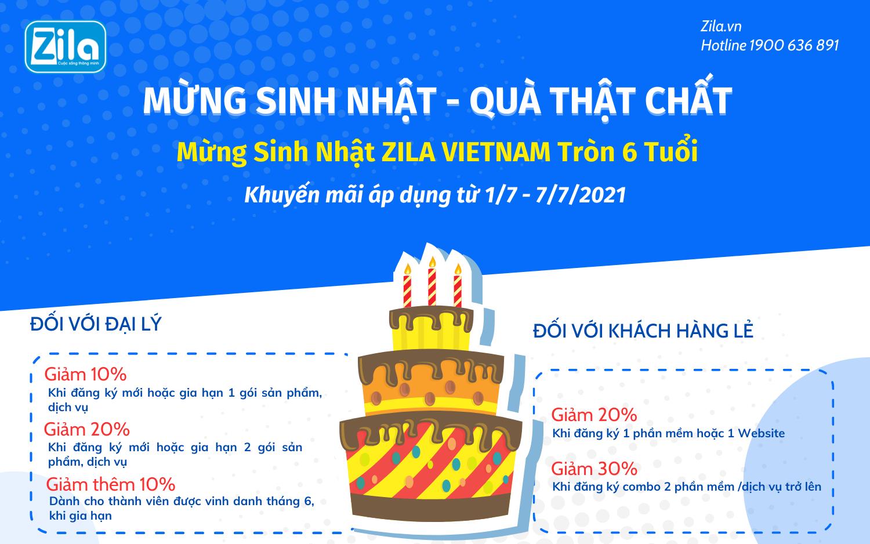 Khuyen mai thang 7 mung sinh nhat Zila Viet Nam tron 6 tuoi